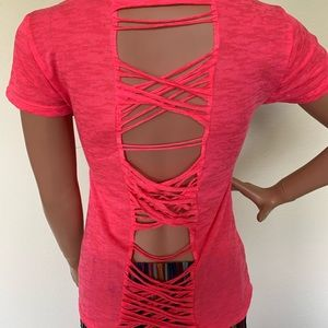 Hot pink shear t-shirt cut out back size M